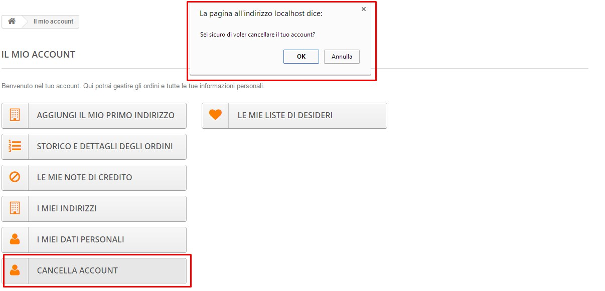 Cancellare l'account prestashop